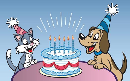 Dog And Cat Birthday Party Stockvectorkunst en meer beelden van Blauwe achtergrond