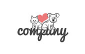 Dog and Cat cute logo template