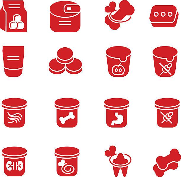 hund und katze füttern als glyph-ikonen, set 1 - hundeleckerli stock-grafiken, -clipart, -cartoons und -symbole