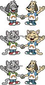 Great set of dog and cat friends. Perfect for a friendship or Gay pride illustration. EPS and JPEG files included. Be sure to view my other illustrations, thanks!