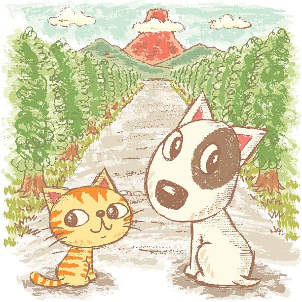 bildbanksillustrationer, clip art samt tecknat material och ikoner med dog and cat go to the mountain - hund skog