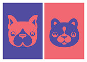 vector illustration of dog and cat heads icons