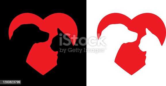 Dog And Cat Heart Icon