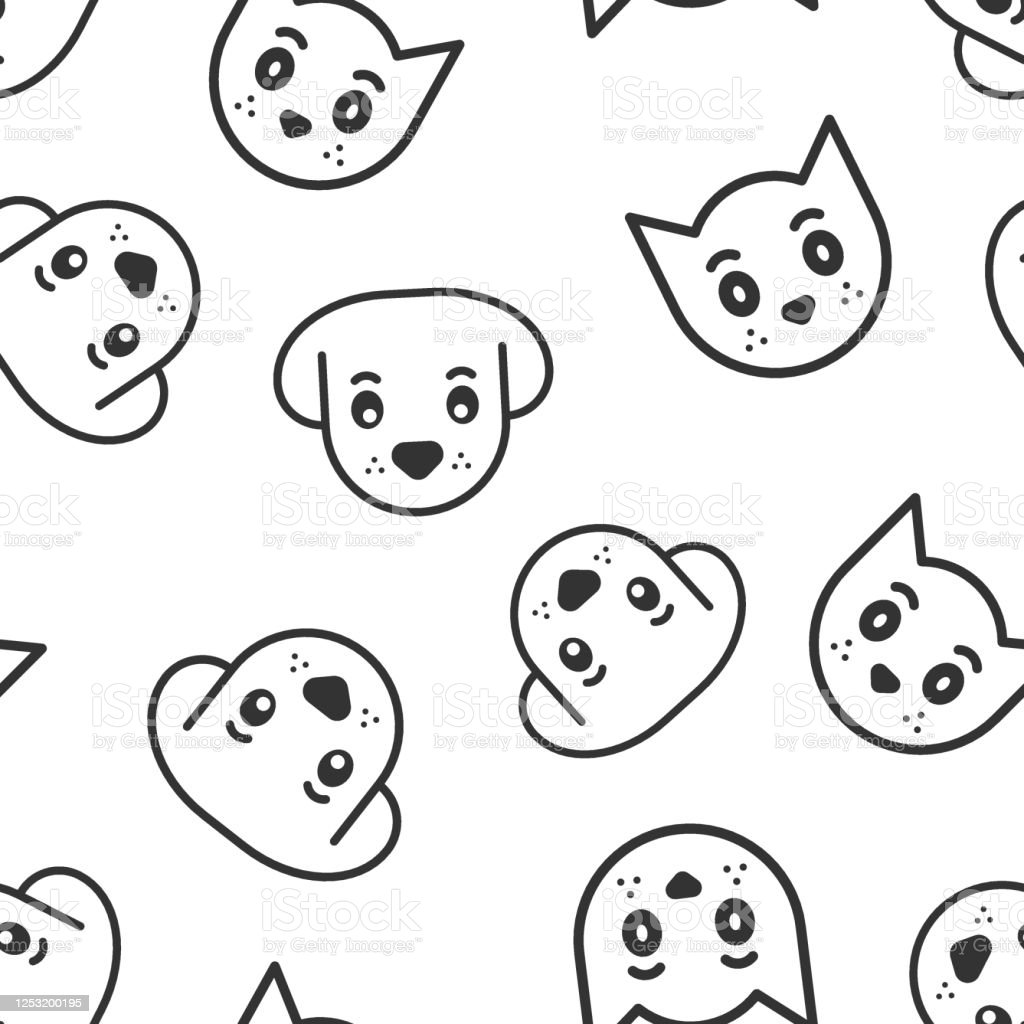 Dog And Cat Icon In Flat Style Animal Head Vector Illustration On