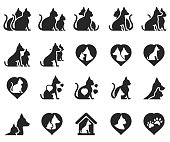 Dog and cat icon set , vector illustration