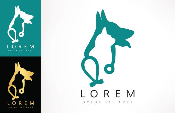 dog and cat icon. stethoscope vector. - veterinarian stock illustrations, clip art, cartoons, & icons