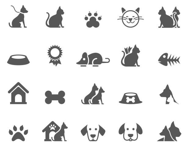 dog and cat icons - pets stock illustrations, clip art, cartoons, & icons