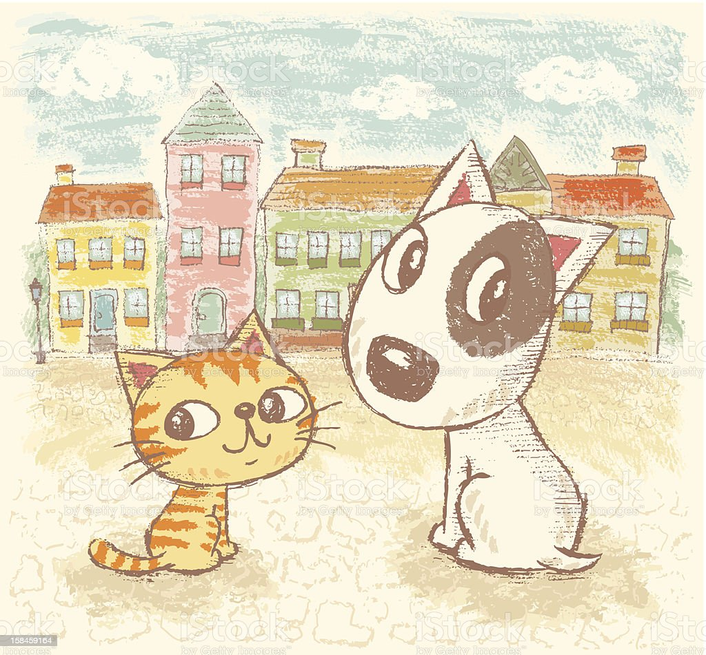 Dog and Cat in Town vector art illustration