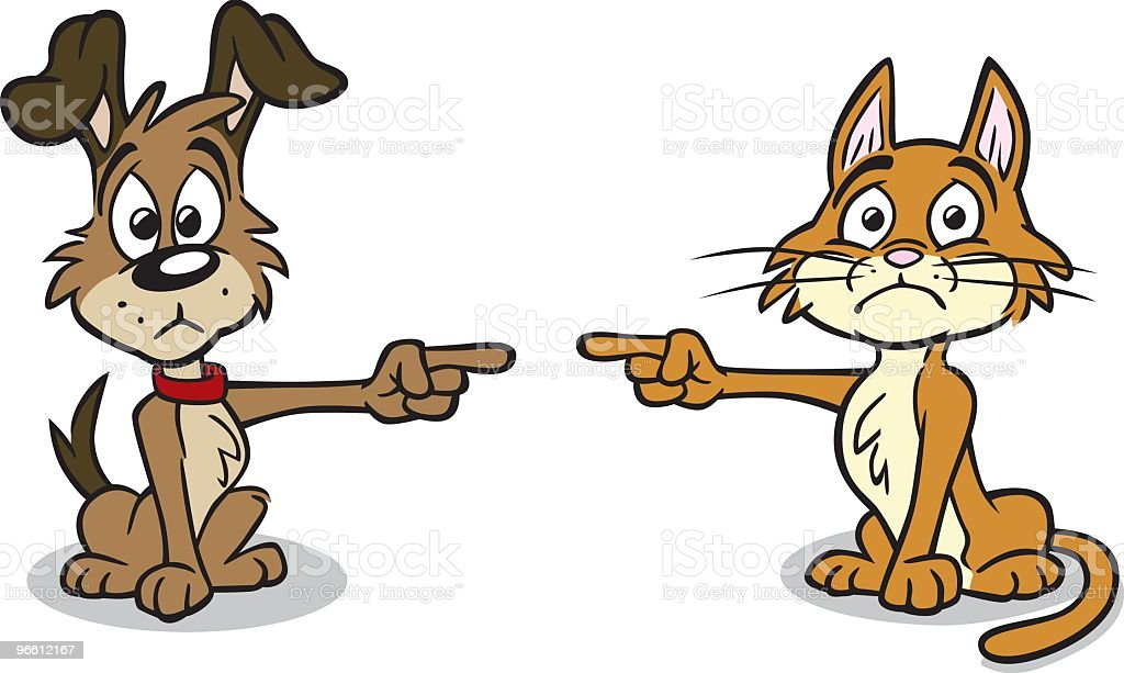 Dog and Cat in Trouble vector art illustration