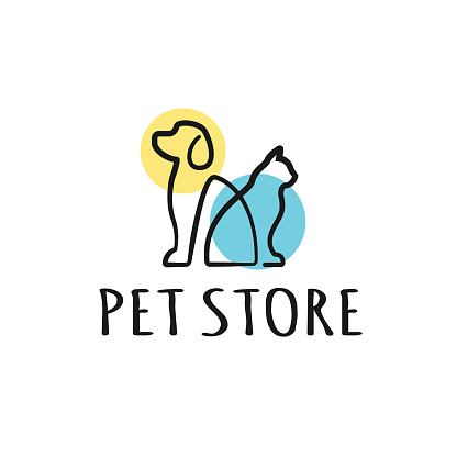 Dog and Cat logo design template. Graphic sitting puppy logotype, sign and symbol. Pet silhouette label illustration isolated on background. Modern animal badge for veterinary clinic, pet food - Vector