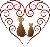 Dog and cat love heart vintage silhouettes vector icon id card image