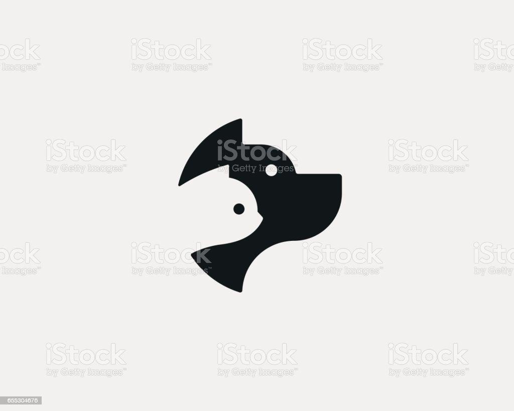 Dog and cat negative space logo design. Pet store logotype. Pet vector icon symbol.