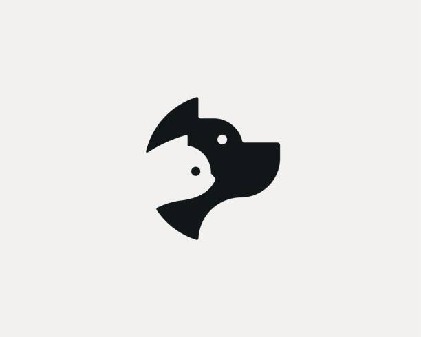 dog and cat negative space logo design. pet store logotype. pet vector icon symbol. - pets stock illustrations, clip art, cartoons, & icons