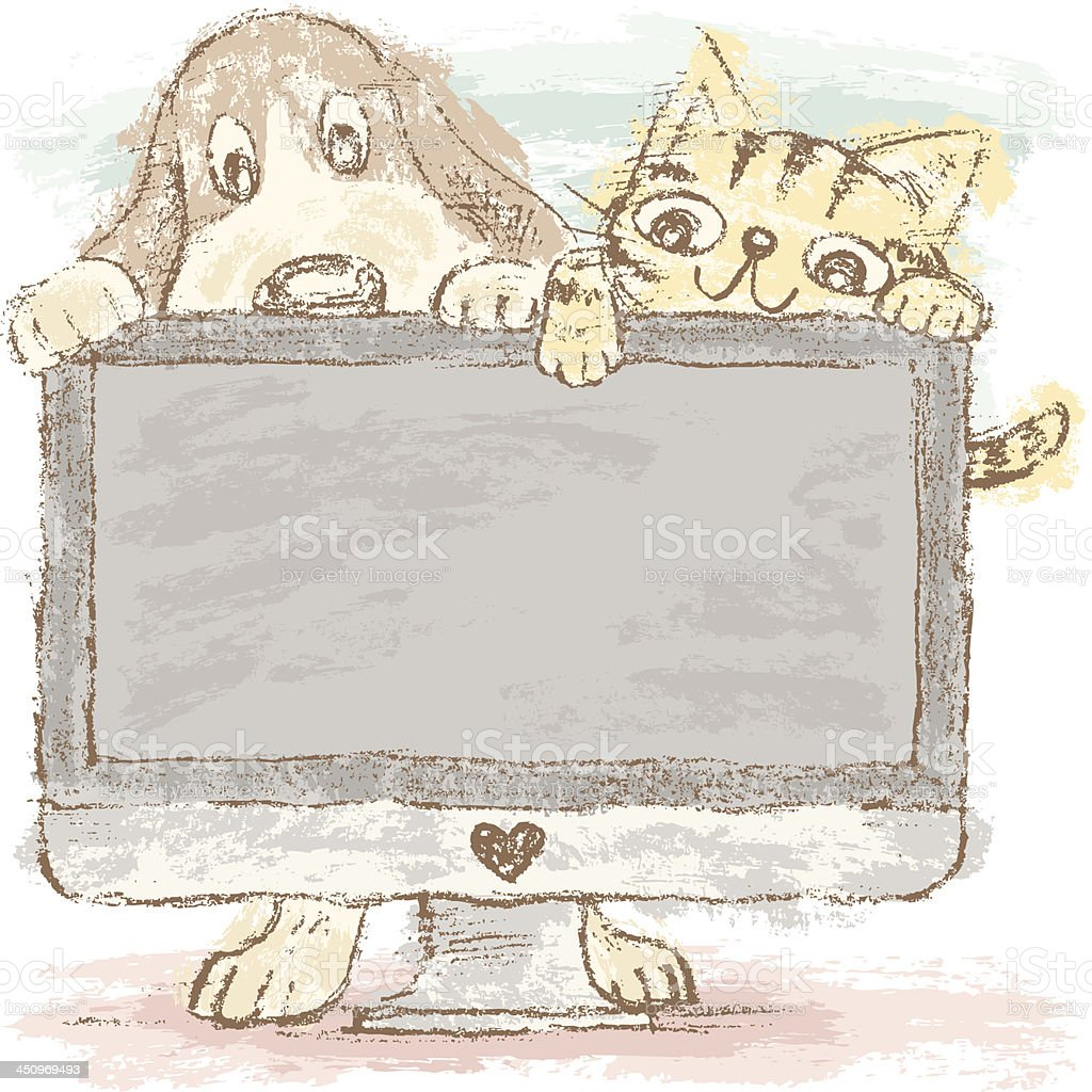 Dog and cat on PC royalty-free dog and cat on pc stock vector art & more images of animal