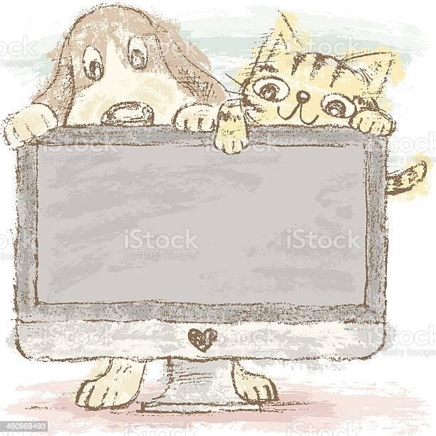 Dog and cat on pc vector id450969493?b=1&k=6&m=450969493&s=612x612&h=hje1zy3ulhmqpbhdvjclkoinkbjrpmickt4lby5hmc0=