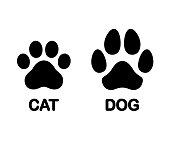 Dog and cat paw print symbol. Black and white silhouette icon, difference between feline and canine trace. Isolated vector clip art illustration.