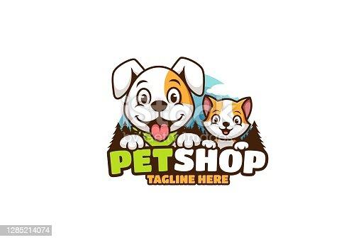 istock Dog and cat pet shop cartoon 1285214074