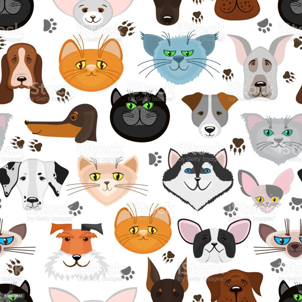 Dog and cat seamless pattern. Pets animals vector background - ilustração de arte em vetor