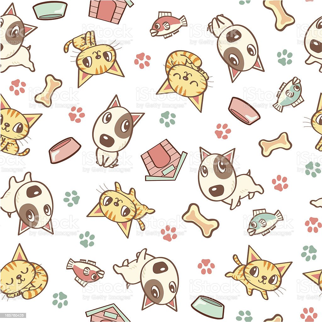 Dog and Cat seamless pattern vector art illustration