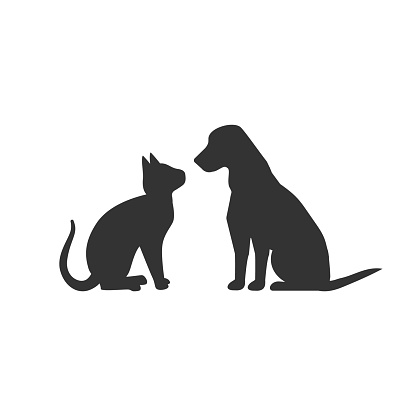 Dog and cat silhouette isolated on white background.