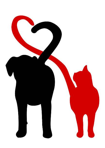 犬や猫のシルエットを作り、心をテール ベクターアートイラスト