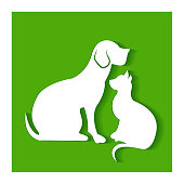 Dog and cat silhouettes flat icon vector r design template