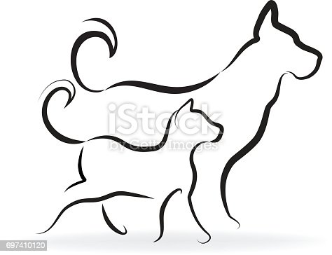 istock Dog and cat silhouettes vector id card 697410120