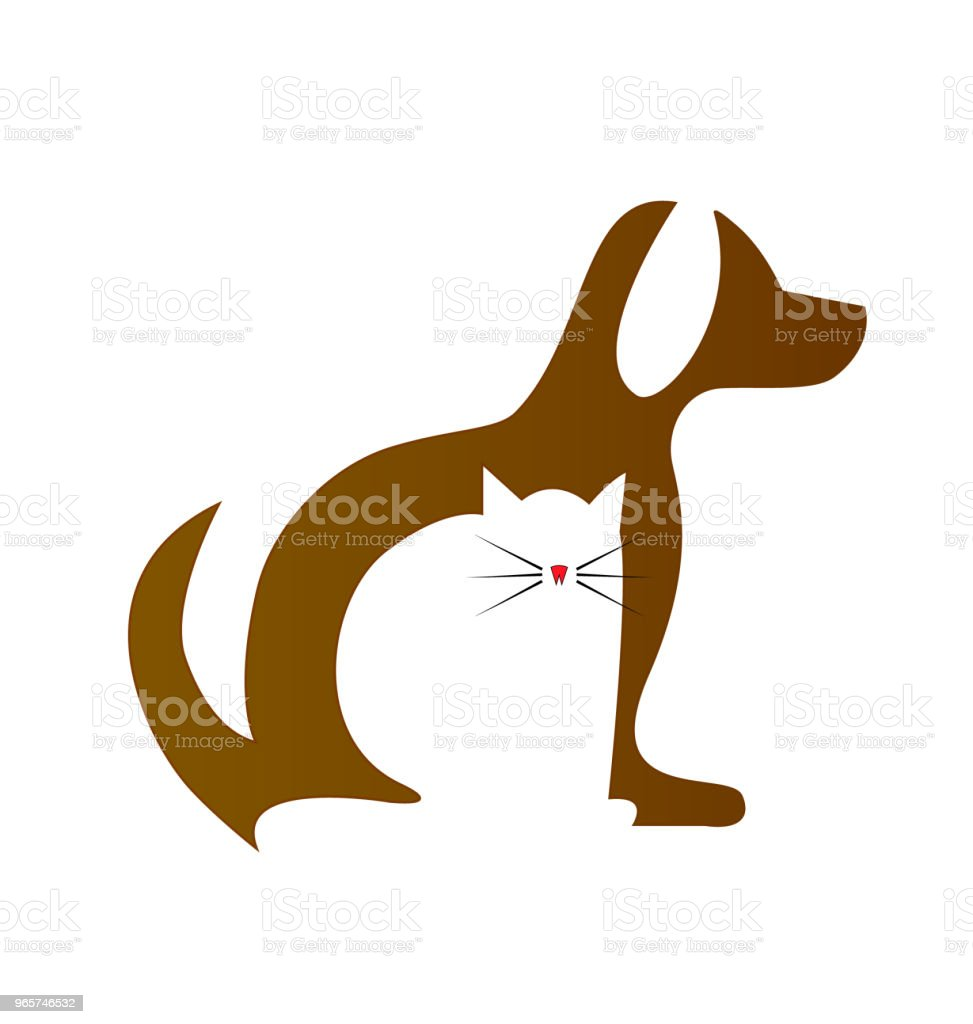 Dog and Cat silhouettes veterinary id card icon - Royalty-free Advertisement stock vector