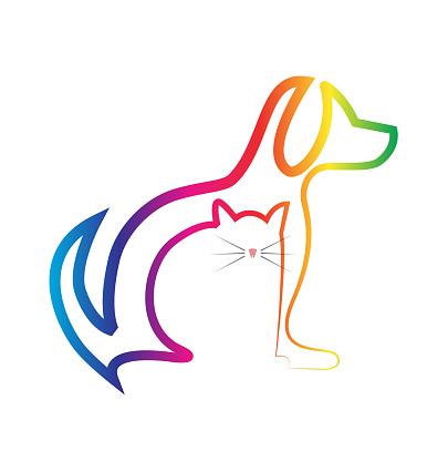 Silhouetten Veterinaire Identiteitskaart Pictogram Van Hond En Kat Stockvectorkunst en meer beelden van Advertentie