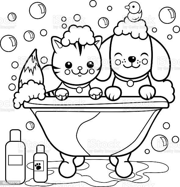 Dog and cat taking a bath coloring page vector id604333708?b=1&k=6&m=604333708&s=612x612&h= xjgo 5pv4kdu45miqjcazciunzvv pr4dlnq14vywi=