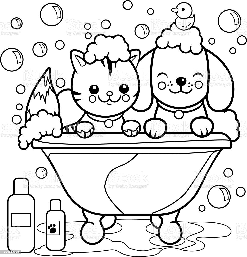 Dog and cat taking a bath coloring page. vector art illustration
