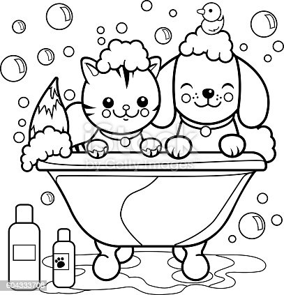 Dog And Cat Taking A Bath Coloring Page stock vector art 604333708 ...
