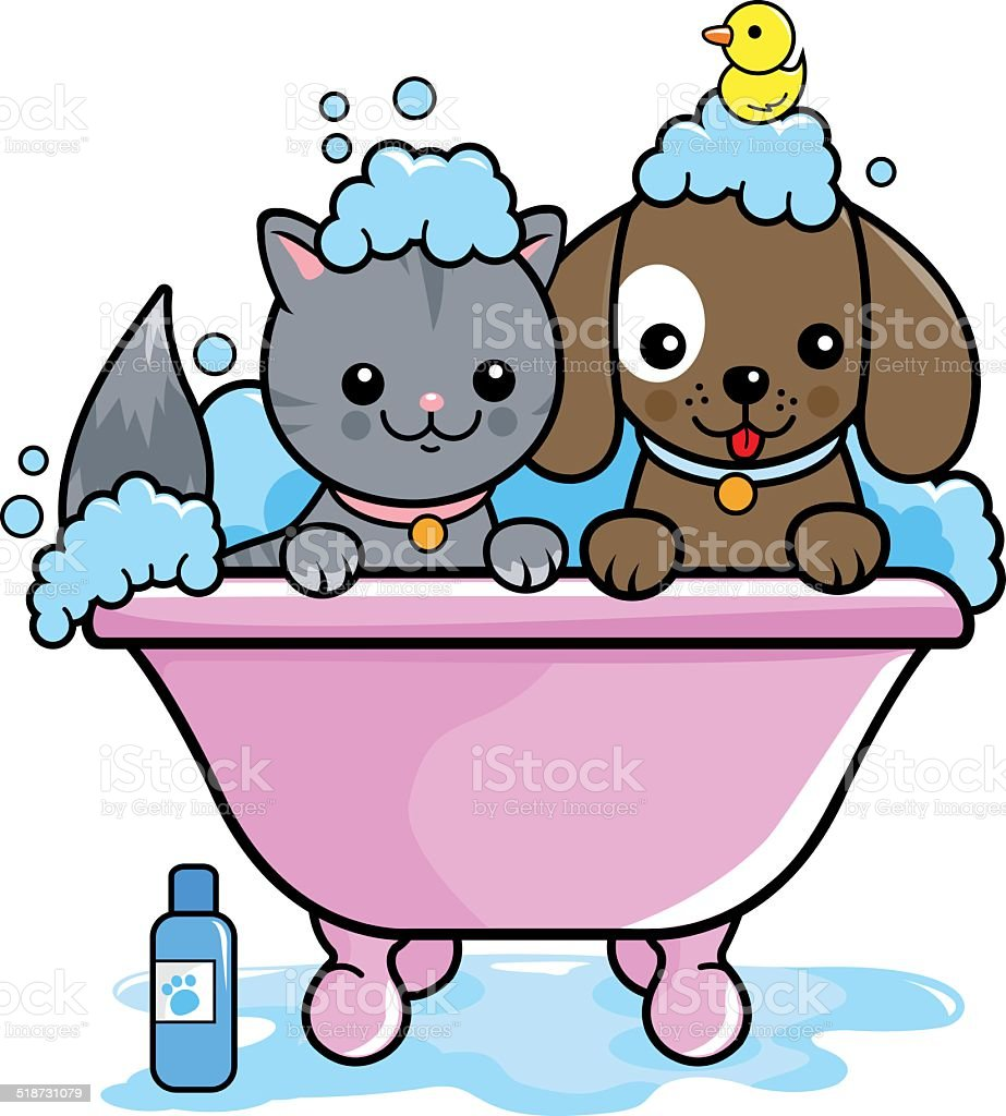 Dog and cat taking a bath vector art illustration