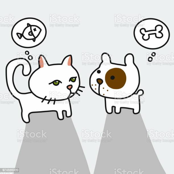 Dog and cat thinking of food their love cartoon illustration vector id974335020?b=1&k=6&m=974335020&s=612x612&h=eix6nwg77qubrfcvx1fg8npdlc4qapnetushumobg4u=