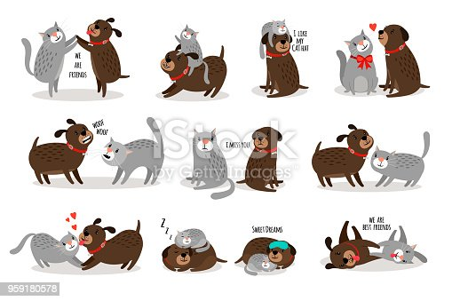 Dog and cat together. Funny dog with cat are best friends vector illustration, cartoon pets with funny texts isolated on white background