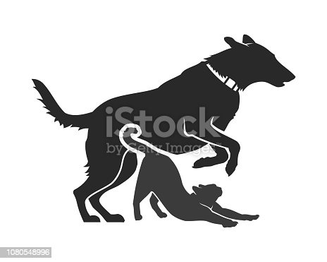 Dog and cat icons. Dog and cat vector cut out silhouettes.