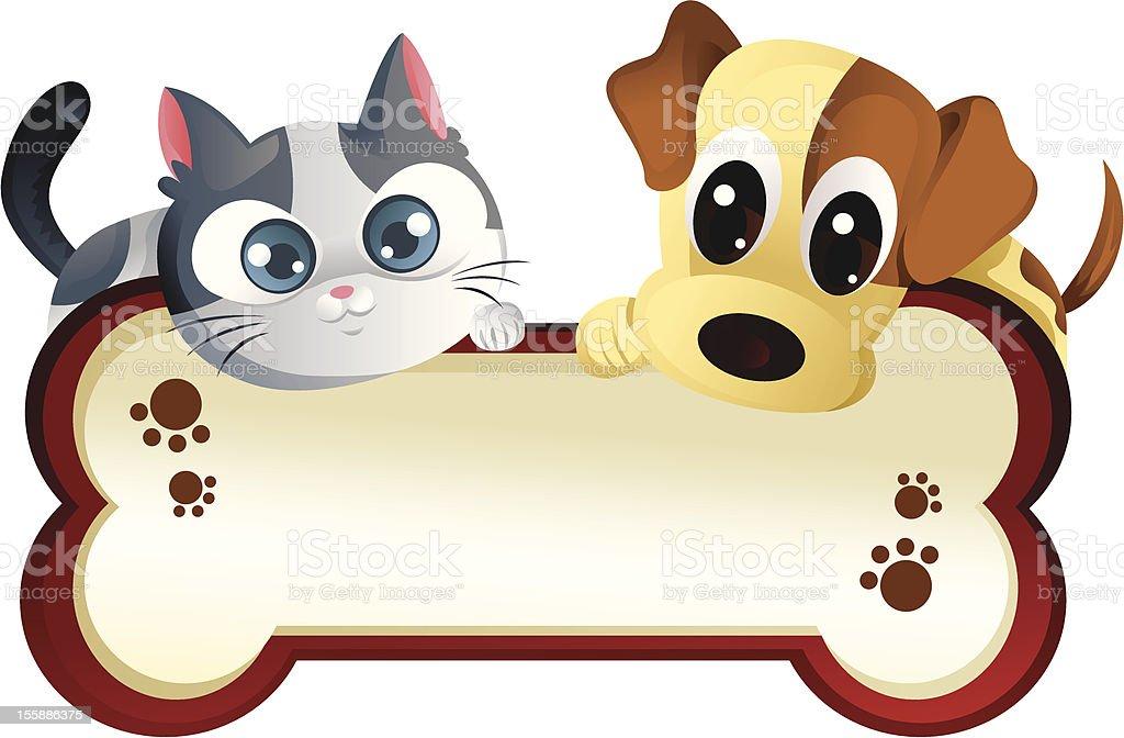 Perro y gato con banner - ilustración de arte vectorial