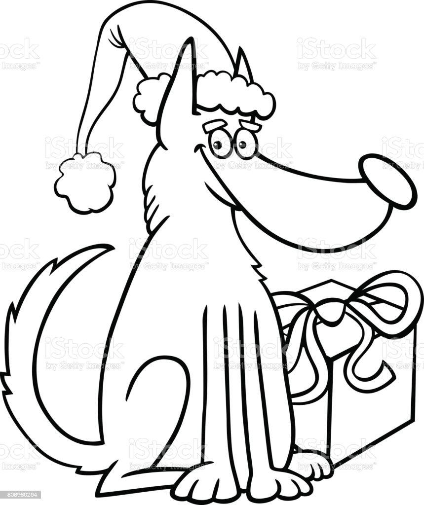 犬と塗り絵のクリスマス プレゼント お祝いのベクターアート素材や画像