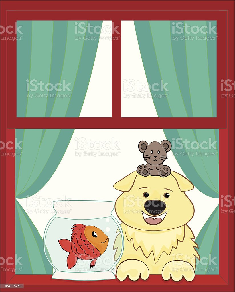 Dog and fish royalty-free stock vector art