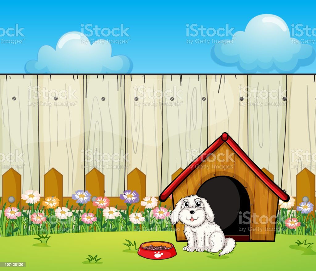 Dog and house inside the fence royalty-free stock vector art