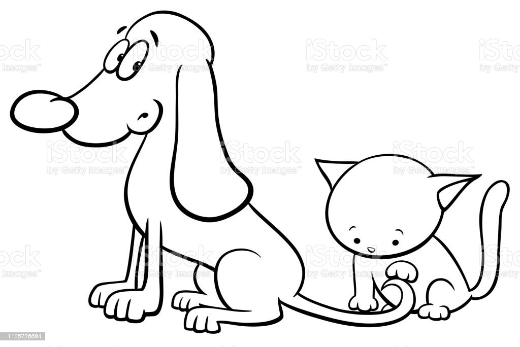 Dog And Kitten Characters Cartoon Color Book Stock ...