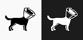 Dog and Neck Cone Icon on Black and White Vector Backgrounds. This vector illustration includes two variations of the icon one in black on a light background on the left and another version in white on a dark background positioned on the right. The vector icon is simple yet elegant and can be used in a variety of ways including website or mobile application icon. This royalty free image is 100% vector based and all design elements can be scaled to any size.