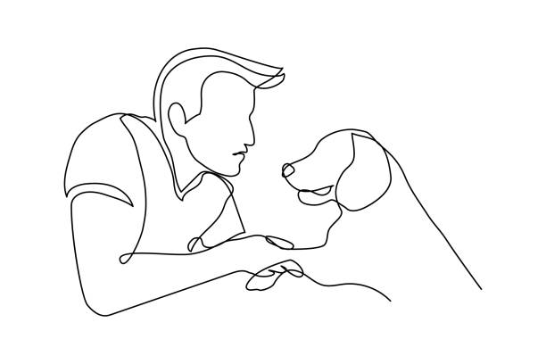 interaktion zwischen hund und besitzer - einzelnes tier stock-grafiken, -clipart, -cartoons und -symbole