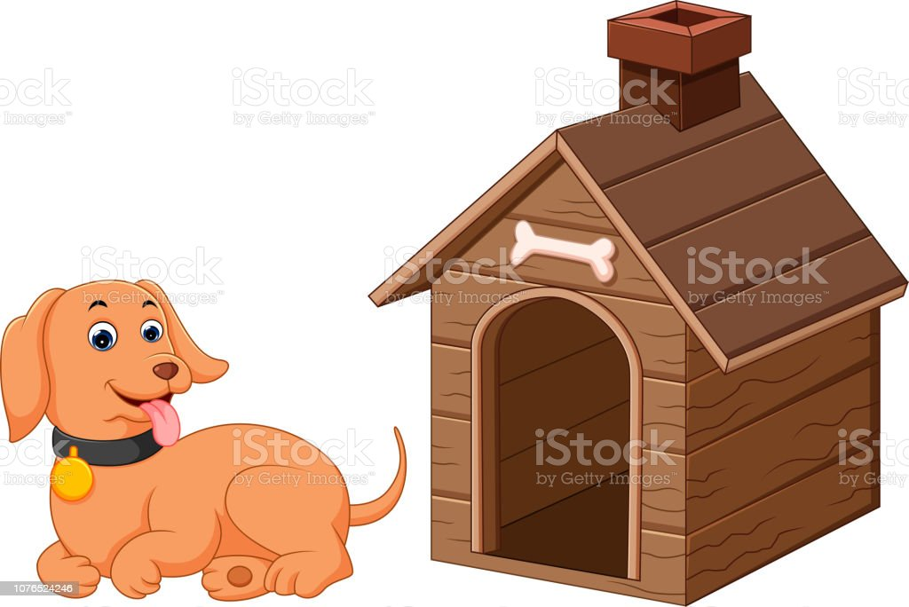 Dog and pet dog house vector art illustration