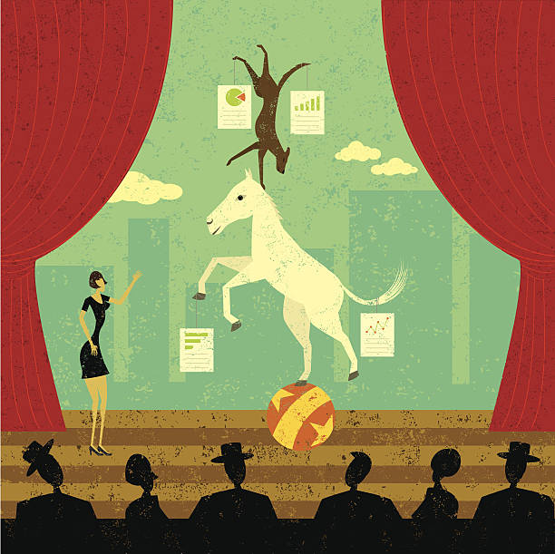 dog and pony show - pony stock illustrations