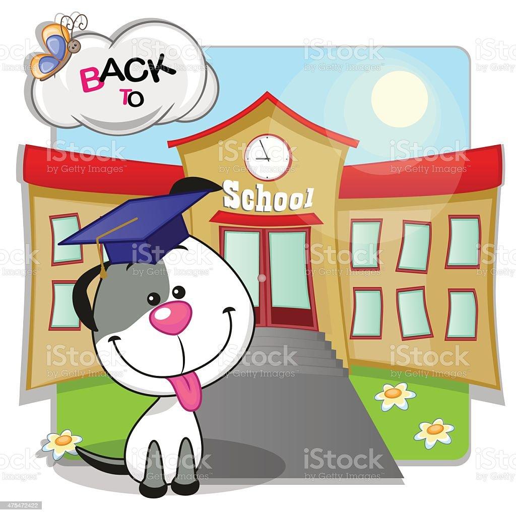 Dog and school vector art illustration