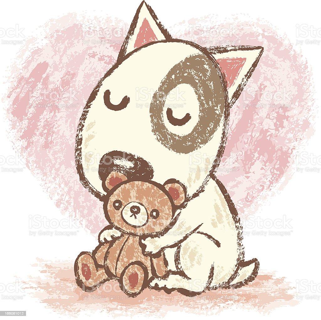 Dog and Teddy bear vector art illustration
