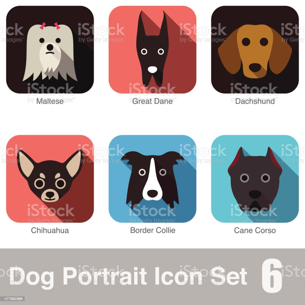 Dog, animal face character icon series vector art illustration