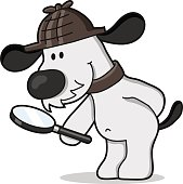 vector drawing of a dog with magnifying glass in search for something
