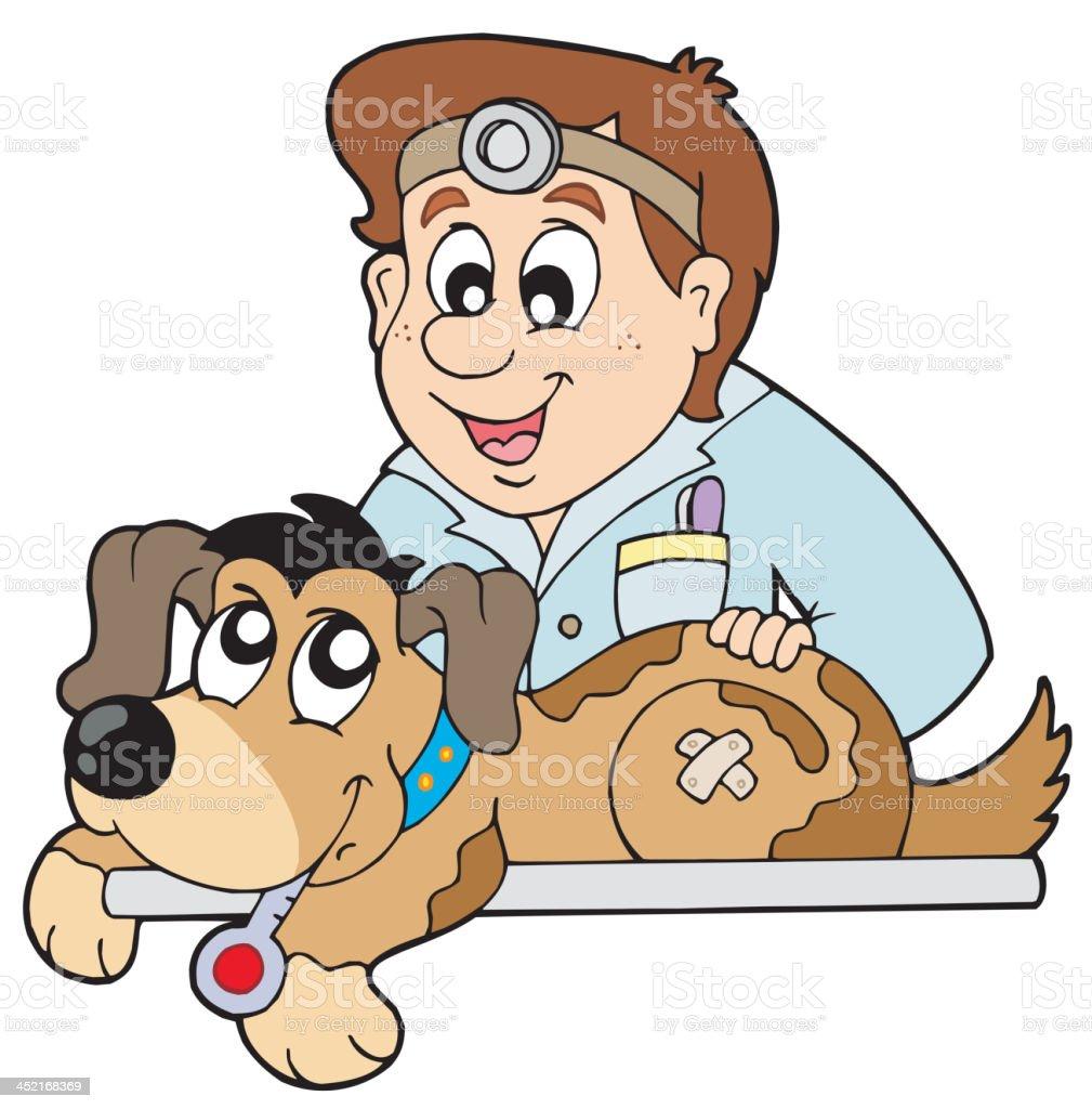 Dog at veterinarian royalty-free stock vector art